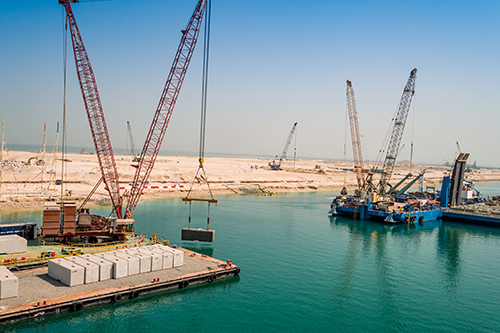 Construction of the Port Island began with 45 Million Cubic Meters of dredging and reclamation work