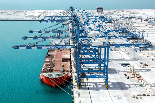 Khalifa Port became a hub serving 17 shipping lines with direct links to more than 45 ports
