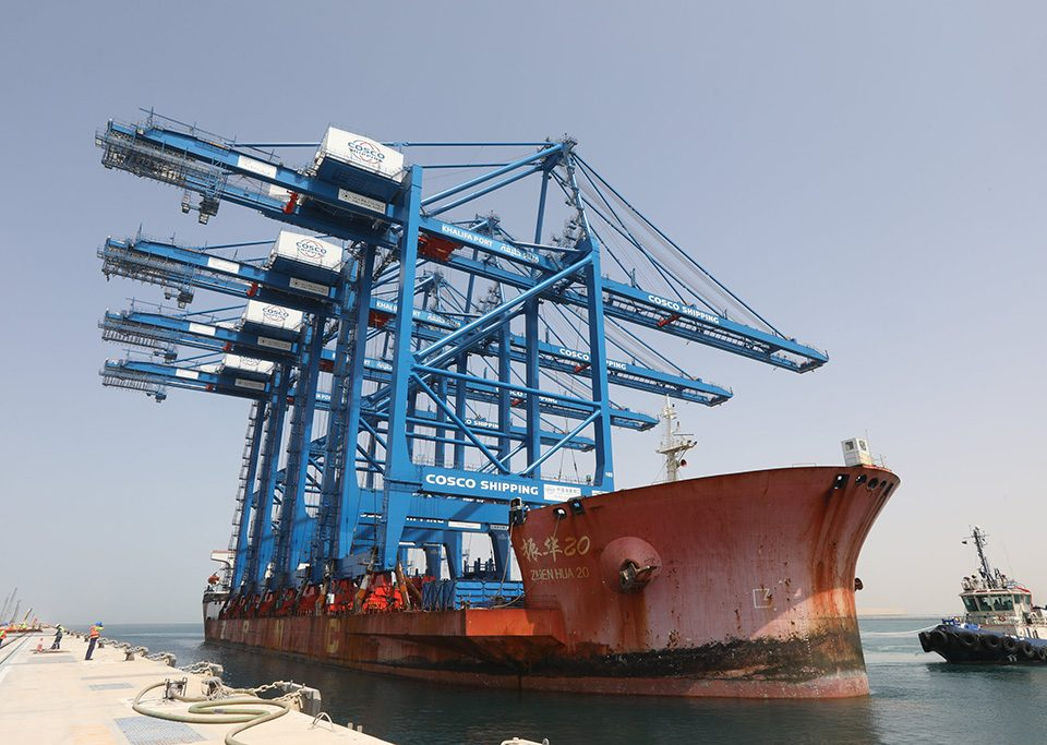 Khalifa Port Receives First ARMG and STS cranes for COSCO SHIPPING Abu Dhabi Terminal